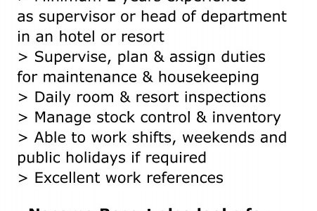 Head Housekeeper Wanted: Nasama Resort